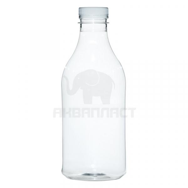 1,0 л. ПЭТФ бутылка круглая МОЛОЧНАЯ б/ц горло 38 мм BPF Колпачок