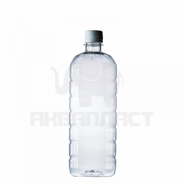 Бутылка ПЭТ 1.0 л. горло 28 мм. (квадратная) прозрачная с колпачком