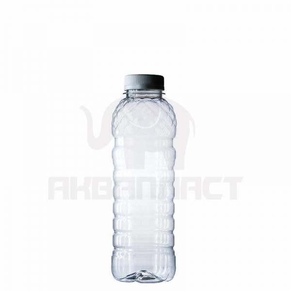 Бутылка ПЭТ 0.5 л. горло 38 мм. (рифленая) прозрачная с колпачком